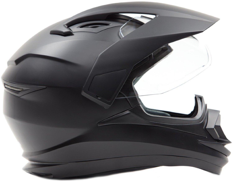 Dual Sport Snocross Snowmobile Helmet w/ Electric Heated Shield - Matte Black - XL by Typhoon Helmets (Image #2)