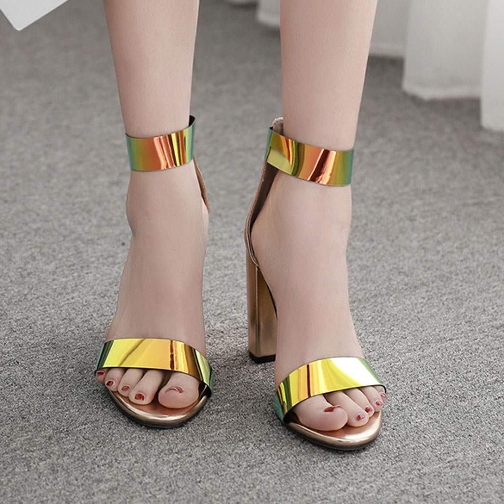 Heeled Sandals for Women Ankle Strap,FAPIZI Summer Casual Open Toe Round-Toe Fashion Sequin Nightclub Shoe by FAPIZI Women Shoes (Image #3)