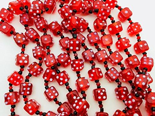 Casino Theme Clear Red Dice Handmade Lampwork Glass Beads, Strand Of 12 Dice Beads ()
