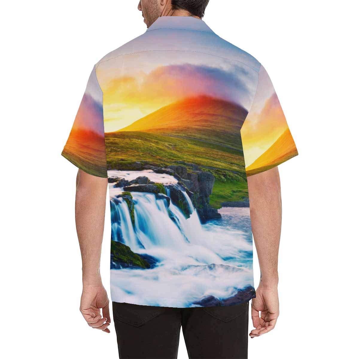 InterestPrint Sunset Waterfall Short Sleeve Shirts
