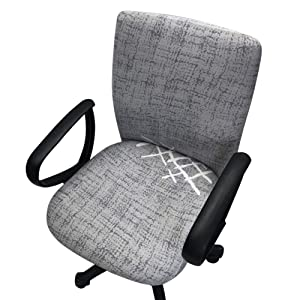 Echaprey One-Piece Stretchy Washable Rotating Swivel Computer Office Chair Covers Anti-Dust Removable Dining Chair Covers (Pattern 1)