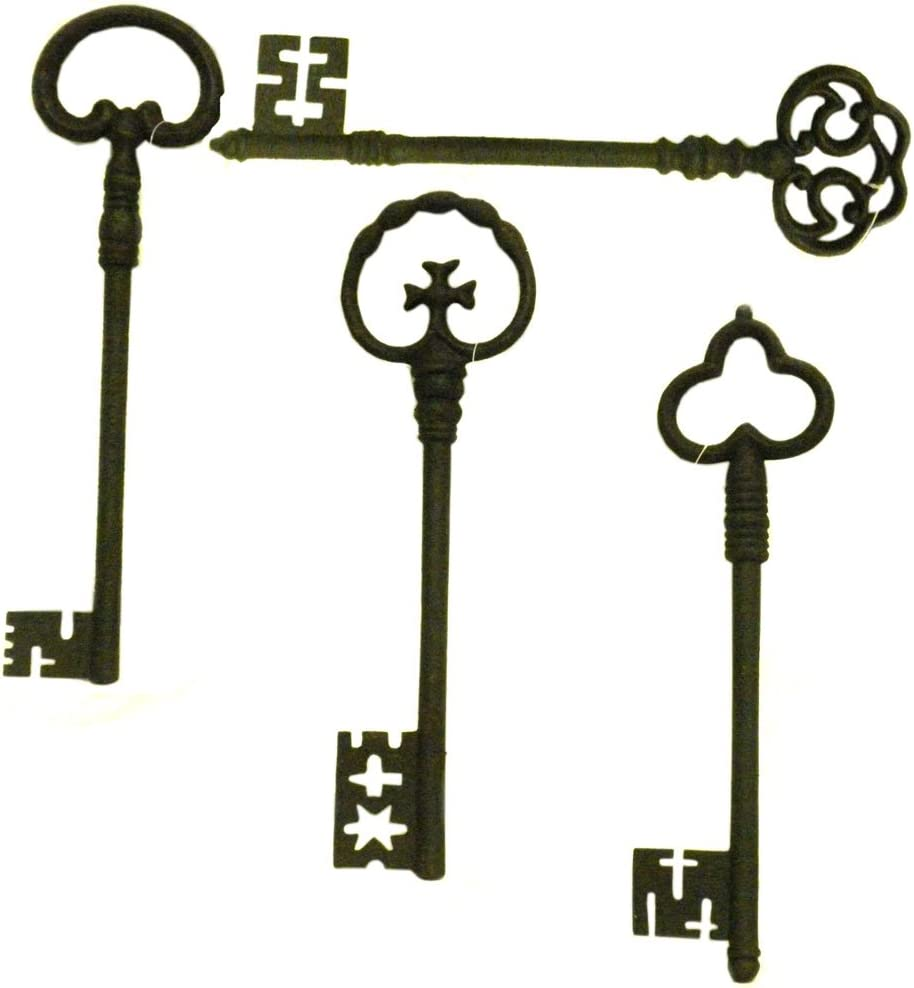 Set of 4 Antiqued Metal Decorative Keys Large Wall Decor