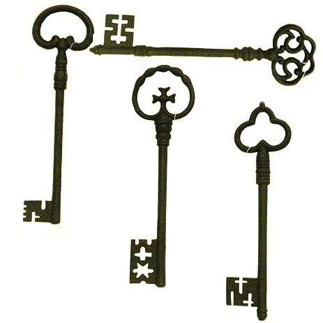 Amazon.com: Set of 4 Antiqued Metal Decorative Keys Large Wall ...