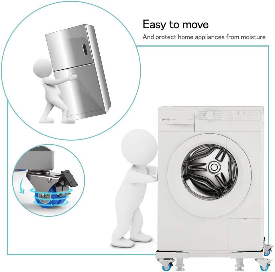DEWELBase Lavadoa Ajustable con 4 Ruedas Dobles y 4 Patas Fijas de 54-74cm Soporte para Lavadora-Secadora,Refrigeradoras,Cocinas