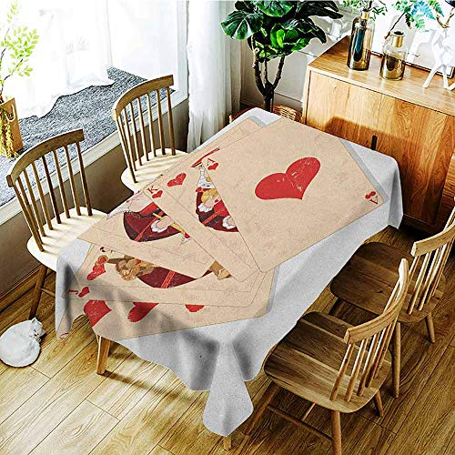 Flush Damask (XXANS Waterproof Table Cover,in Wonderland,Crown Gambler Queen Hearts Royal Fairy Flush Face Magic Theme,Party Decorations Table Cover Cloth,W50x80LBrown Red and Ecru)