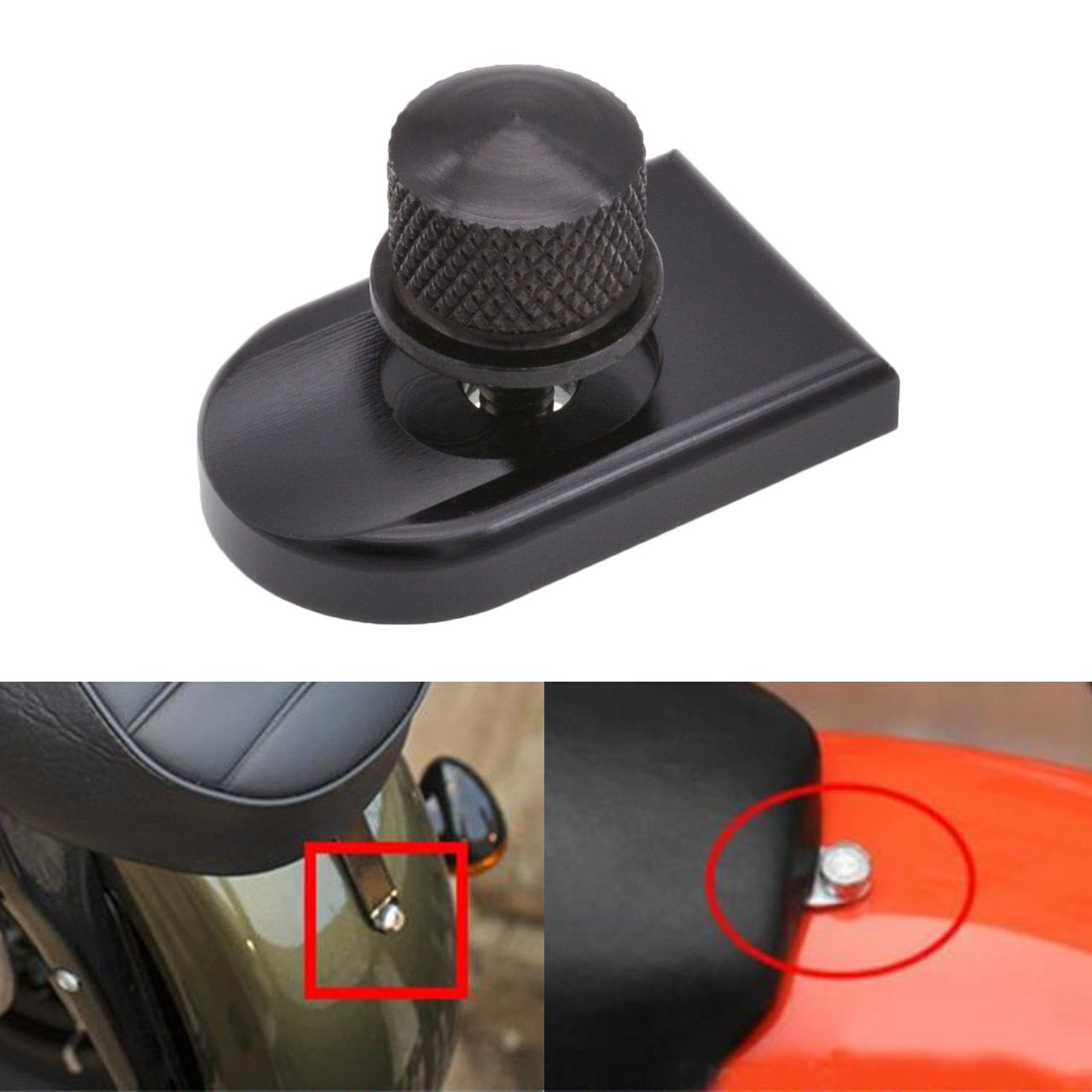 KaTur Round/Knurled Anodized Black Billet Aluminum Mount Seat Bolt Screw Thumbscrew For Harley Davidson 1996-2015 Dyna Street Bob