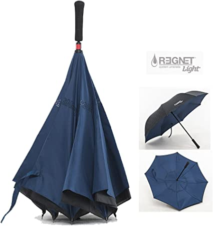 Sky-Blue Owl Double Layer Windproof UV Protection Reverse Umbrella With C-Shaped Handle Upside-Down Inverted Umbrella For Car Rain Outdoor