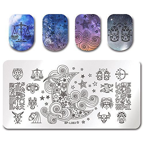 BORN PRETTY Stamping Template Constellation Star Moon Rectangle Nail Art Image Plate BP-L083