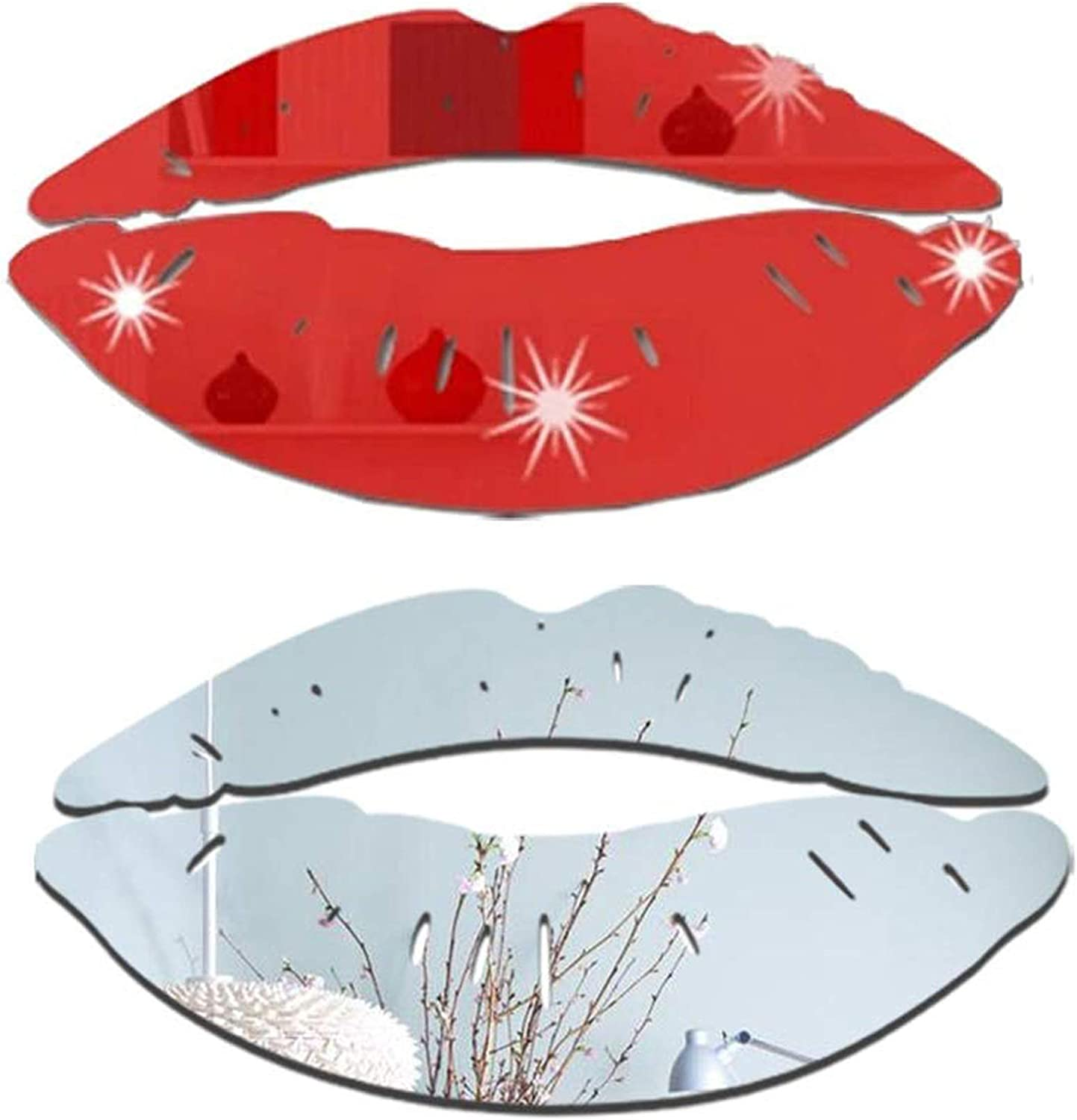 Lips Mirror Wall Stickers, 2 Sets 3D Kiss Shape Decals, Acrylic DIY Self-Adhesive Wallpaper Murals for Bedroom, Living Room, Bathroom Home Decor(Silver and Red)