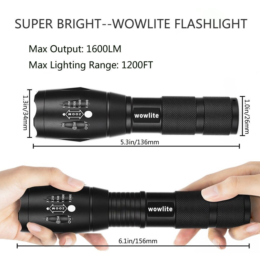 Tactical Flashlight,Wowlite 1600 LM Ultra Bright - CREE XML T6 LED Taclight As Seen On Tv with 5 Light Modes and Adjustable Focus for Emergency Camping Hiking(2 pack) A100