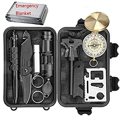 EILIKS Emergency Survival Kits, CHANGKU Multi Professional Tactical Kit Outdoor Survival Gear Kit Traveling Hiking Biking Climbing Hunting