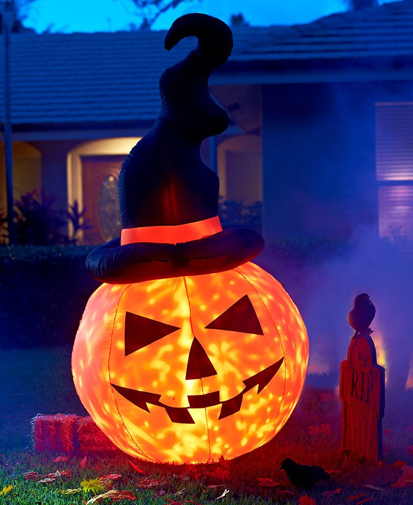 LS Pumpkin Jack-o-Lantern Lights Up Moving Disco Lights Witch Hat Halloween Inflatable Yard Decor