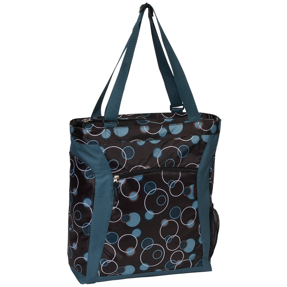 Everest Luggage Laptop Tote Bag, Teal/Brown Bubbles, Teal Blue, One Size
