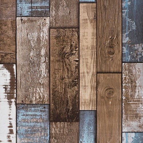 Wall covering ideas for the diy on the cheap infobarrel - Faux wood plank wallpaper ...