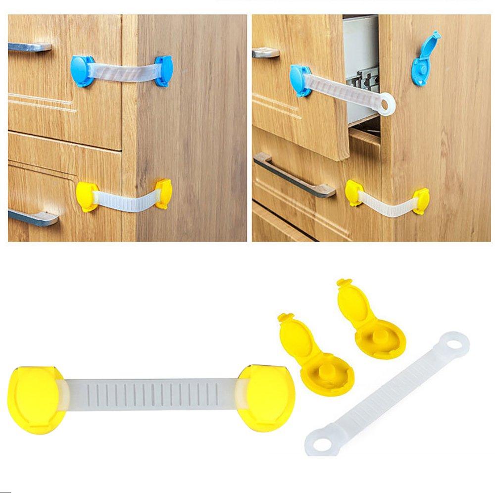 Pack of 10 Baby Safety Drawer Lock - Throwaway Safety Cabinet Door Lock Baby Proofing Kit, Table Edge & Corner Guards, Door Stopper Protector Set, Random Color Pevor