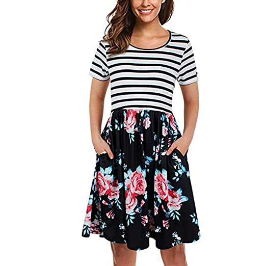 589237912d Fitfulvan Women's Striped Short-Sleeve Stitching Dress Patchwok Round Neck  Print Casual Floral Skirt with