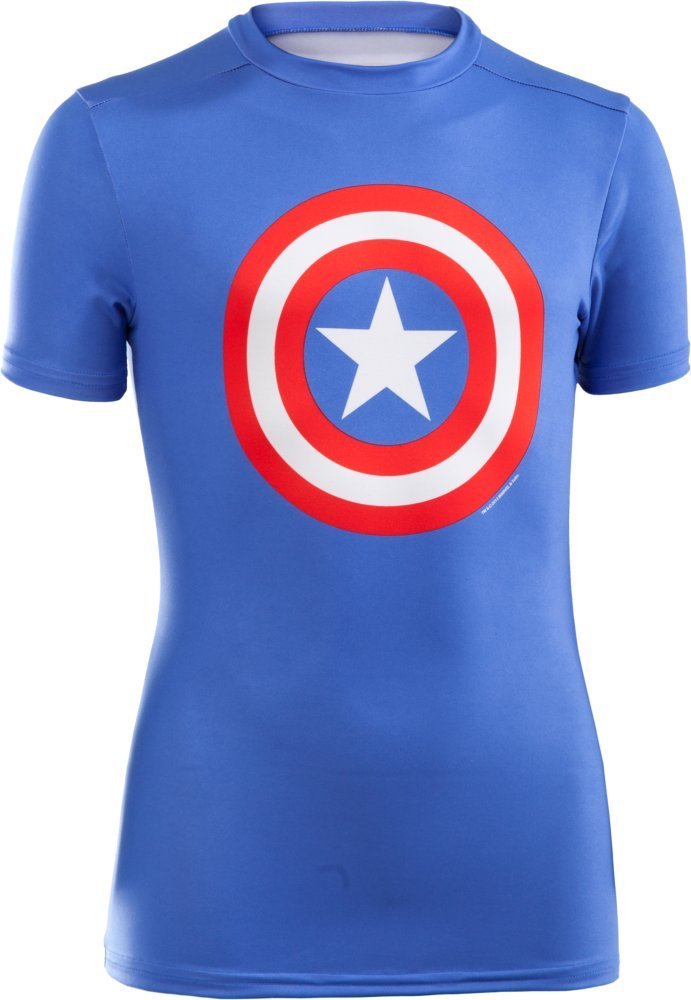 Under Armour Boys Super Hero Fitted Baselayer Captain America Shirt Blue Size X-Large