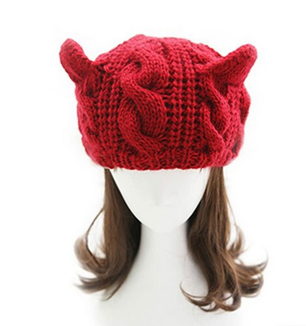 Fashion Women Girl Warm Winter Fall Wool Crochet Baggy Beret Beanie Hat Caps Cute Devil Horn Cat Ear Shape Knitted Hats Elastic Outdoor Ski Beanie Cap (Red)