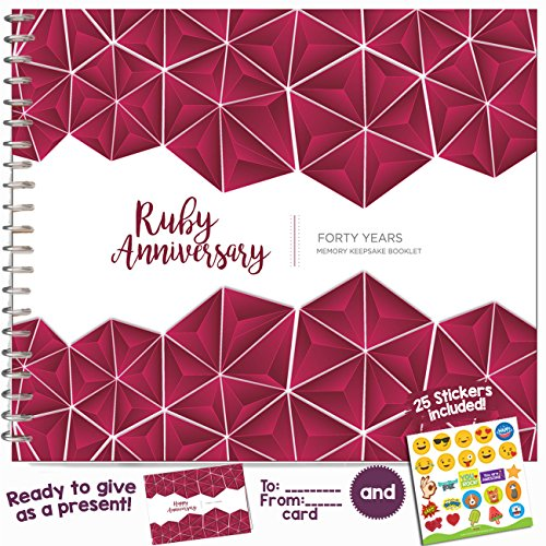 40TH WEDDING ANNIVERSARY GIFTS FOR COUPLES – Forty Years Memory Book for Husband or Wife | Unique Ruby Anniversary Booklet with love quotes and frames to add your pictures for him or her (40 Year Wedding Anniversary Gift For Parents)