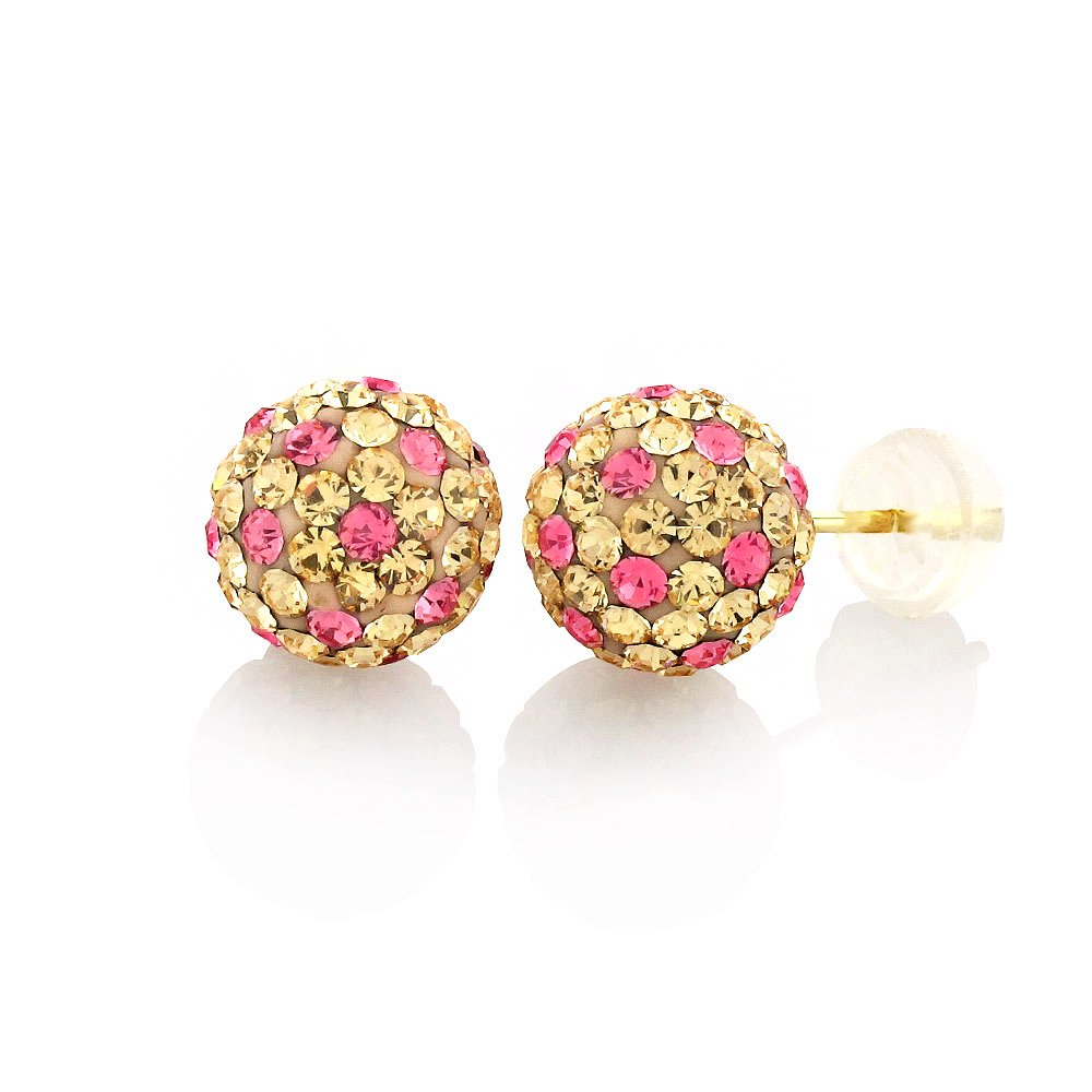 14k Yellow Gold 8mm Austrian Crystal Ball Peach and Hot Pink Stud Earrings
