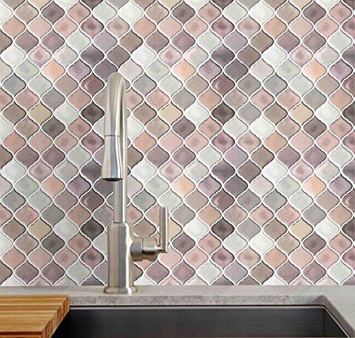 Arabesque Tiles Kitchen Wall: Multi Color Pink Arabesque Peel And Stick Tile Backsplash
