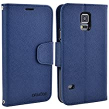 Galaxy S5 Case, S5 Flip Case, Leather Wallet Case with Card Slots, Magnetic Closure and Hand Strap for Samsung Galaxy S5 Smartphone (Dark Blue)