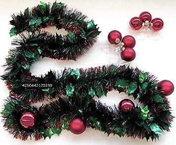 Weihnachten Dekoset V01 Girlande Dunkelrote Kugeln Ideale Tischdeko