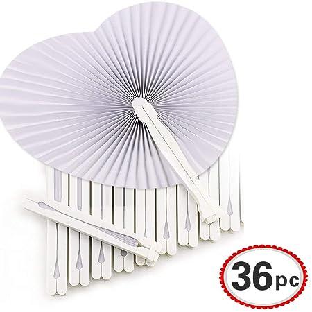 Okaytec 36 Fächer-Hochzeit Handfächer Papierfächer Herzform Weiß Papier Fächer faltbar für Gastgeschenk Hochzeit Bevorzugung