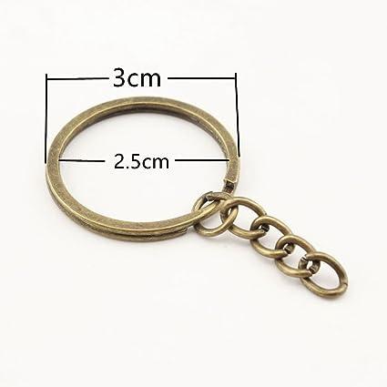 Llavero redondo de hierro dividido con cadena llavero anillo ...