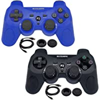 BlueLoong 2 Pack PS3 Controller Wireless SIXAXIS Double Shock Remote Dualshock 3 Gamepad for PlayStation 3 with Charge Cable