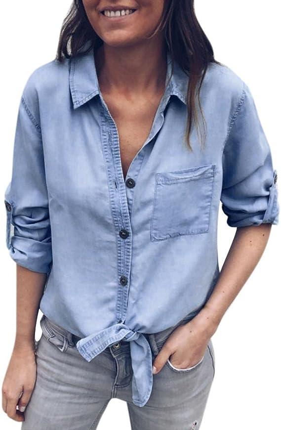 Camisa vaquera de manga larga para mujer, con nudo, botones delanteros, estilo vaquero, estilo vintage, de solapa: Amazon.es: Oficina y papelería