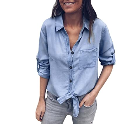 984542855ba Amazon.com  Women s Tie Knot Front Button Down Denim Shirts Vintage Cuffed  Long Sleeve Tunic Lapel Pocket Jeans Tops (S