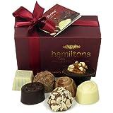 Hamiltons Burgundy Luxury Belgian Ballotin 12 Handmade Chocolates Gift Box