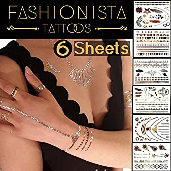 Fashionista Flash Tattoos - Best 87 Metallic Temporary Tattoos on 6 Sheets in Gold, Silver and Black Elegant Design
