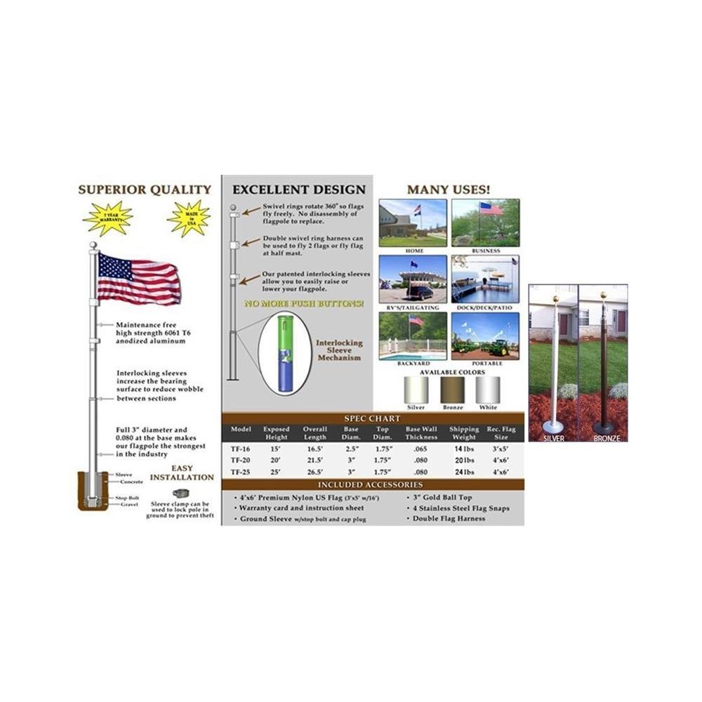 20' Telescoping Bronze TITAN Flagpole w/ Flag