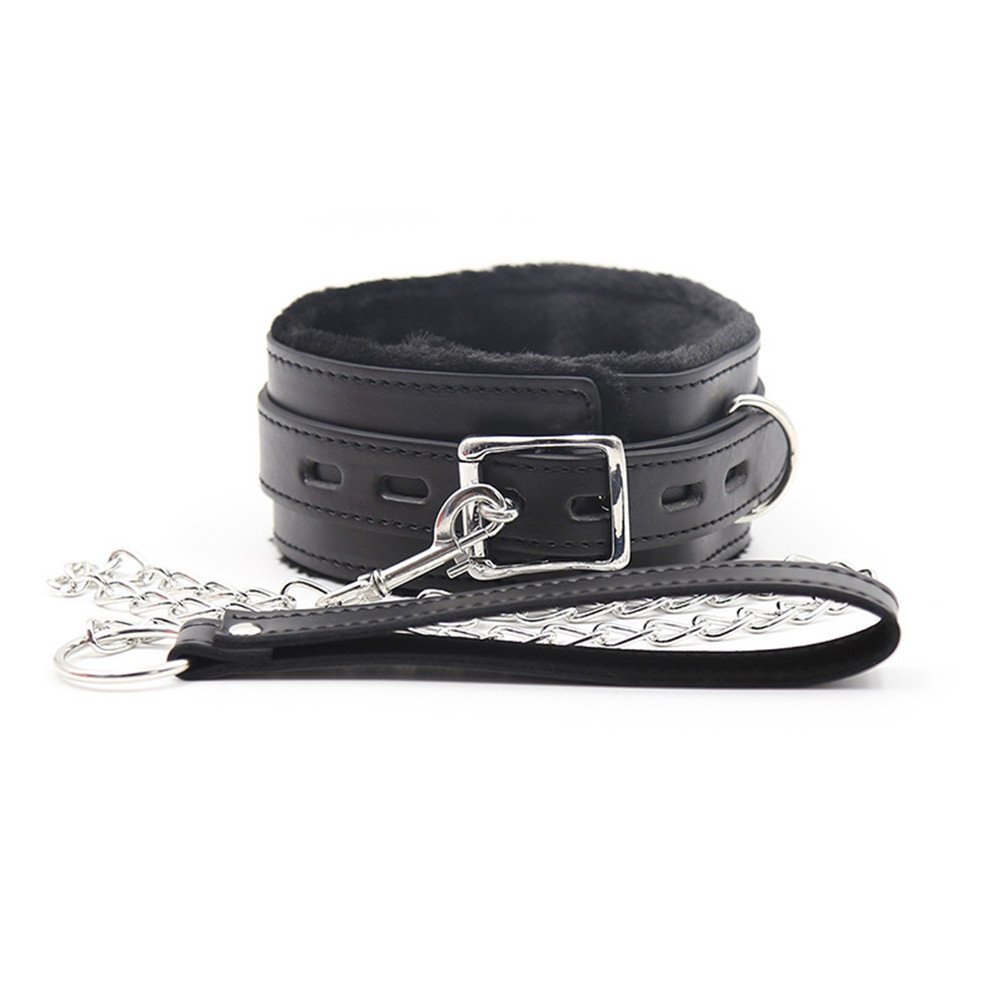 Faux Leather Neck Collar with Leash Smooth Fur Sex Restraint Fetish Adult Toys for Couple Black