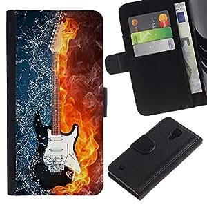 LeCase - Samsung Galaxy S4 IV I9500 - Water and fire guitar - Cuero PU Delgado caso Billetera cubierta Shell Armor Funda Case Cover Wallet Credit Card