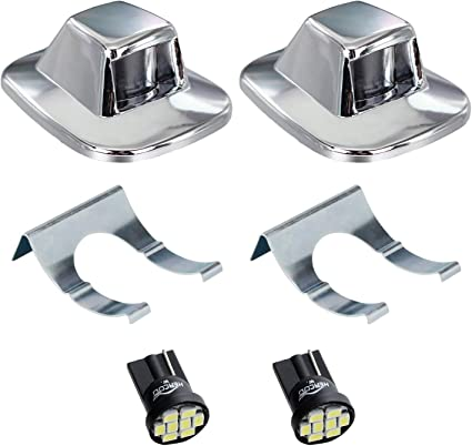 Pack of 2 HERCOO License Plate Lights Lamp Lens Chrome Housing Compatible with 1999 after Silverado Sierra Avalanche Suburban Escalade Yukon GMC Chevy Cadillac Step Bumper Truck Clips Aftermarket