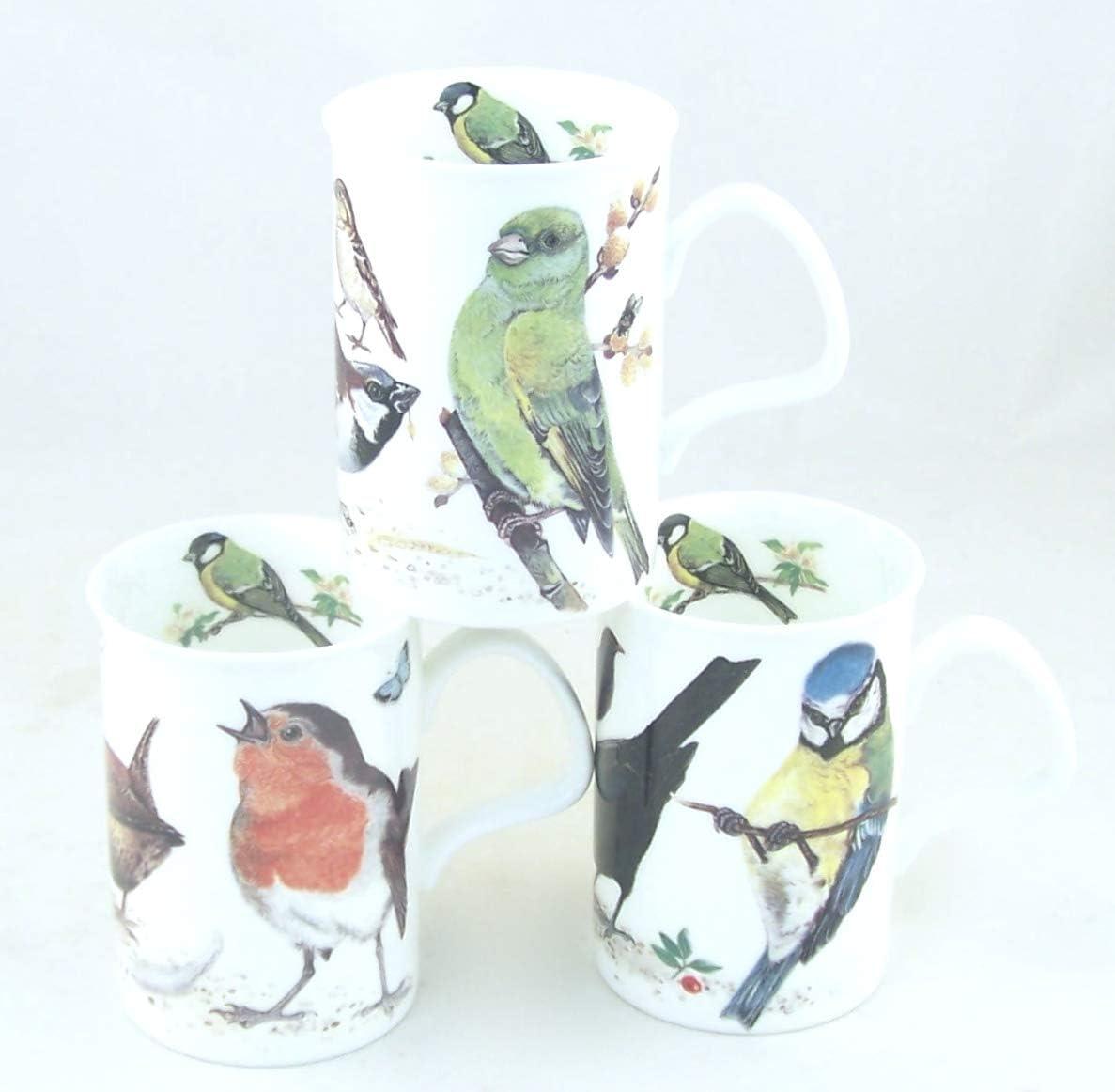 Joanbet's ChinaFind Fine English Bone China Mugs - Set of Three - Garden Birds by Adderley of England