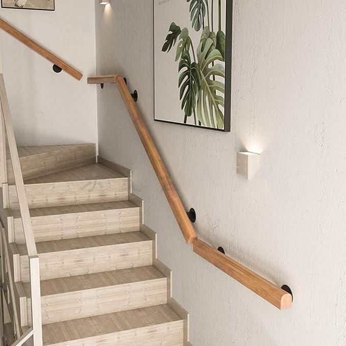 Pasamanos de escalera Barandillas de escalera de madera maciza antideslizante, pasamanos para áticos de edad avanzada contra la pared, barra de soporte interior y exterior fácil de instalar, barra d: Amazon.es: Hogar