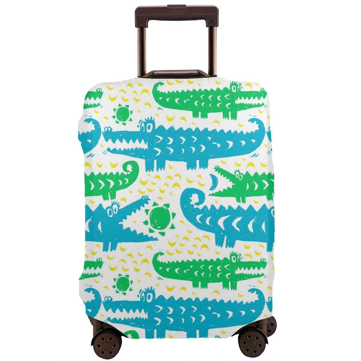 African Animal Crocodile Travel Luggage Cover Suitcase Protector Washable Zipper Baggage Cover
