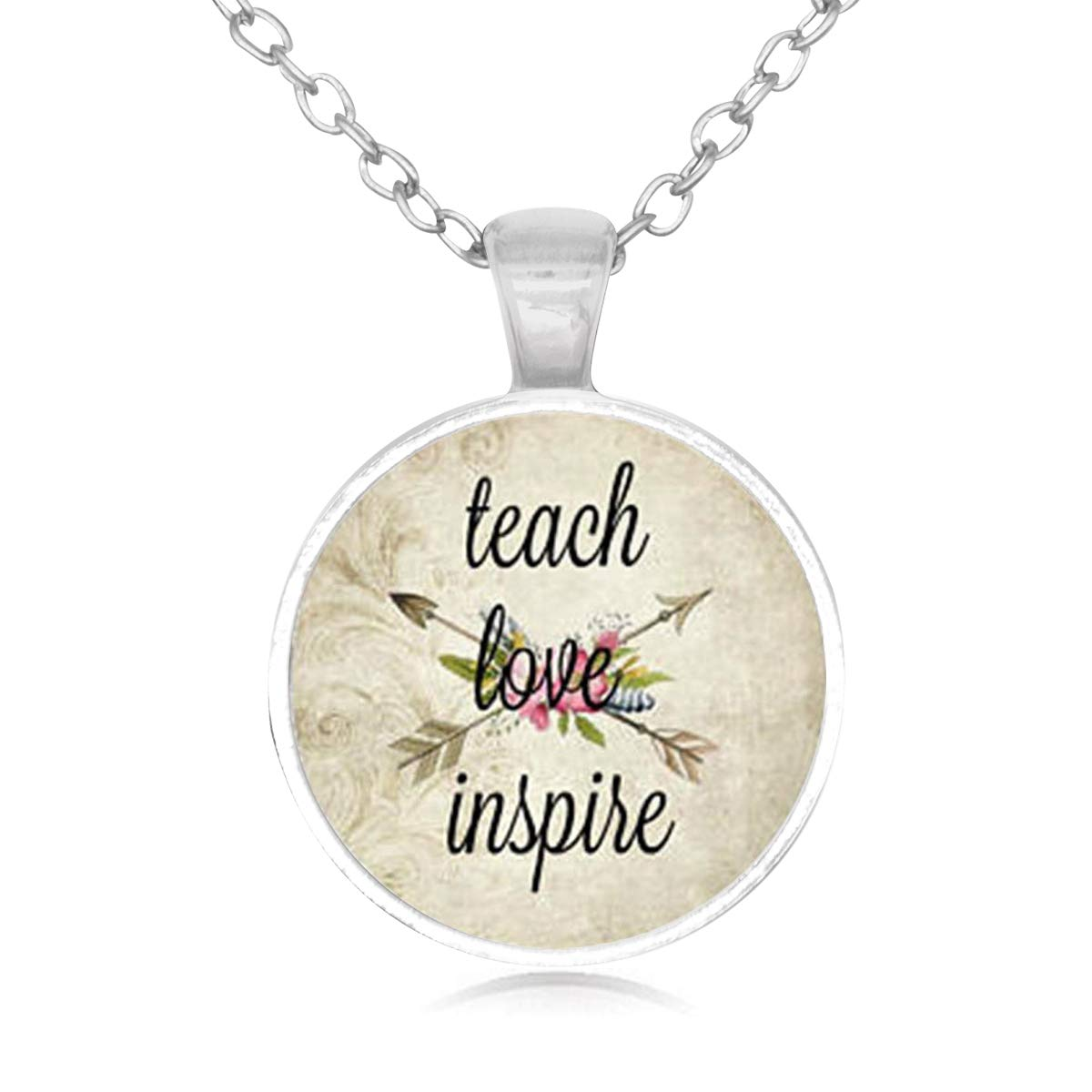 Family Decor Teach Love Inspire Pendant Necklace Cabochon Glass Vintage Bronze Chain Necklace Jewelry Handmade