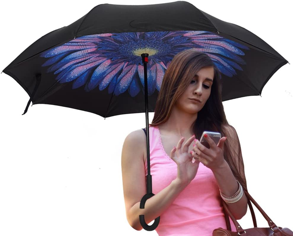 ATONO Vintage Brown Snowflakes Silver And Red Double Layer Inverted Reverse Folding Stick Umbrellas Windproof Anti-UV C-Shaped Handle for Car Rain Outdoor