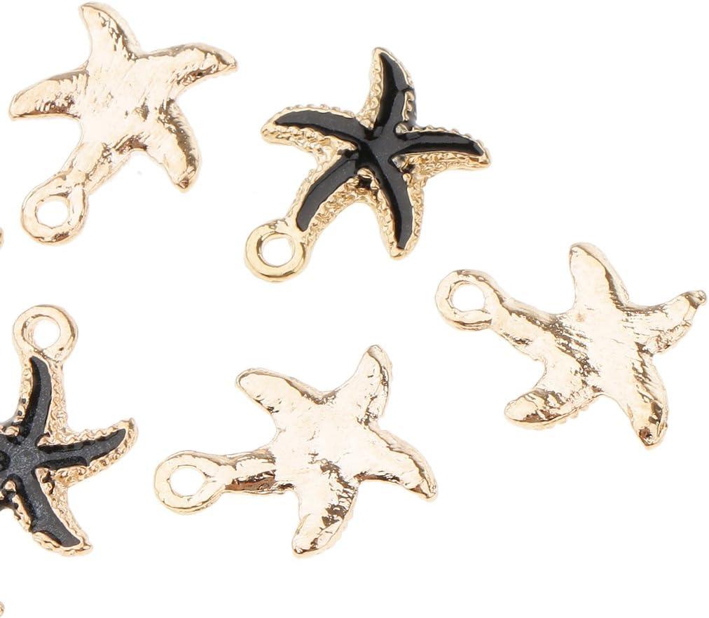 17x14mm Black Star Baoblaze 10 Pieces Starfish Conch Shape Loose Beads Jewellery Bohemian Spacer Beads DIY Earring Dangle Fashion Jewelry