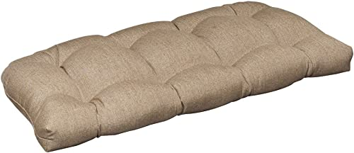 Pillow Perfect Outdoor Indoor Linen Sesame Tufted Loveseat Cushion, 44 x 19 , Tan
