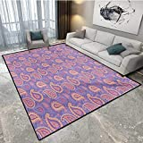 Ethnic Door Mats for Home Traditional Bohemian Paisley Pattern Ornamental Persian Psychedelic Folk Door Mats for Inside 5'x6' (W150cm x L180cm) Lavender Peach Cream