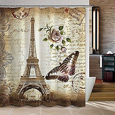Uphome 72 X 72 Inch Retro Vintage Paris Eiffel Tower Waterproof Kids Bathroom Shower Curtain - Butterfly and Flower Pale Brown Polyester Fabric Bathroom Accessories Home Decoration