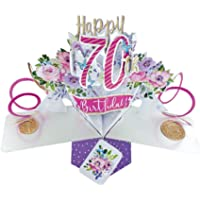 Second Nature 70th Birthday Flowers Pop Up Greeting Card - POP195