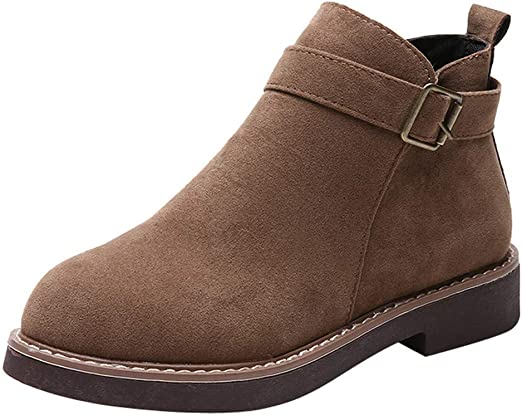 Dacawin Fashion Womens Round Toe Ankle Boots Flat Suede Casual Comfort Lace Up Shoes