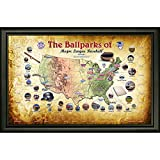 Steiner Sports MLB Baseball Parks Map 20x32 Framed Collage with Game Used Dirt From 30 Parks